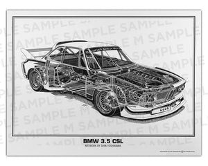Authentic BMW 3.5 CSL cutaway drawing print by renowned automotive artist Shin Yoshikawa