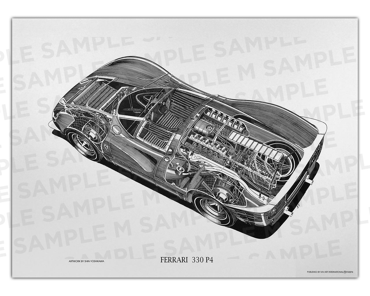 Authentic Ferrari 330P4 cutaway drawing print by renowned automotive artist Shin Yoshikawa