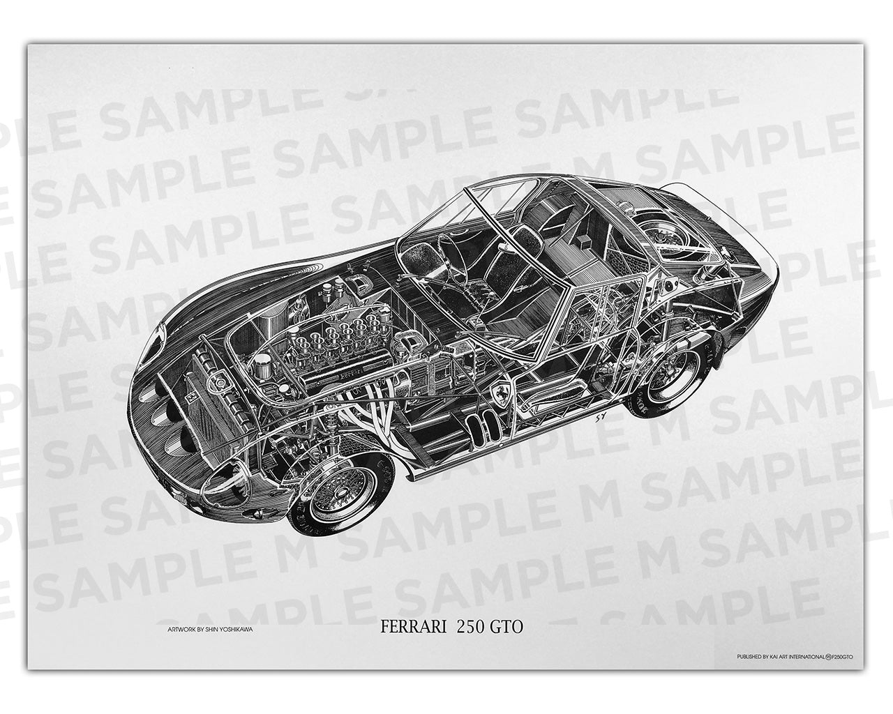 Authentic Ferrari 250  GTO cutaway drawing print by renowned automotive artist Shin Yoshikawa