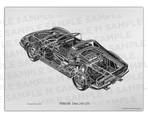 Authentic Ferrari 246 GTS cutaway drawing print by renowned automotive artist Shin Yoshikawa