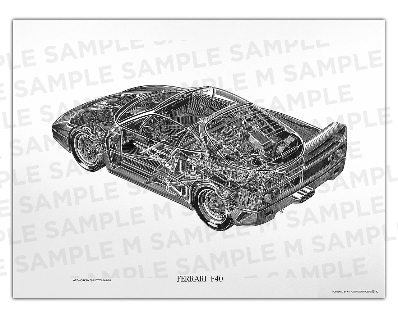 Authentic Ferrari F40 cutaway drawing print by renowned automotive artist Shin Yoshikawa