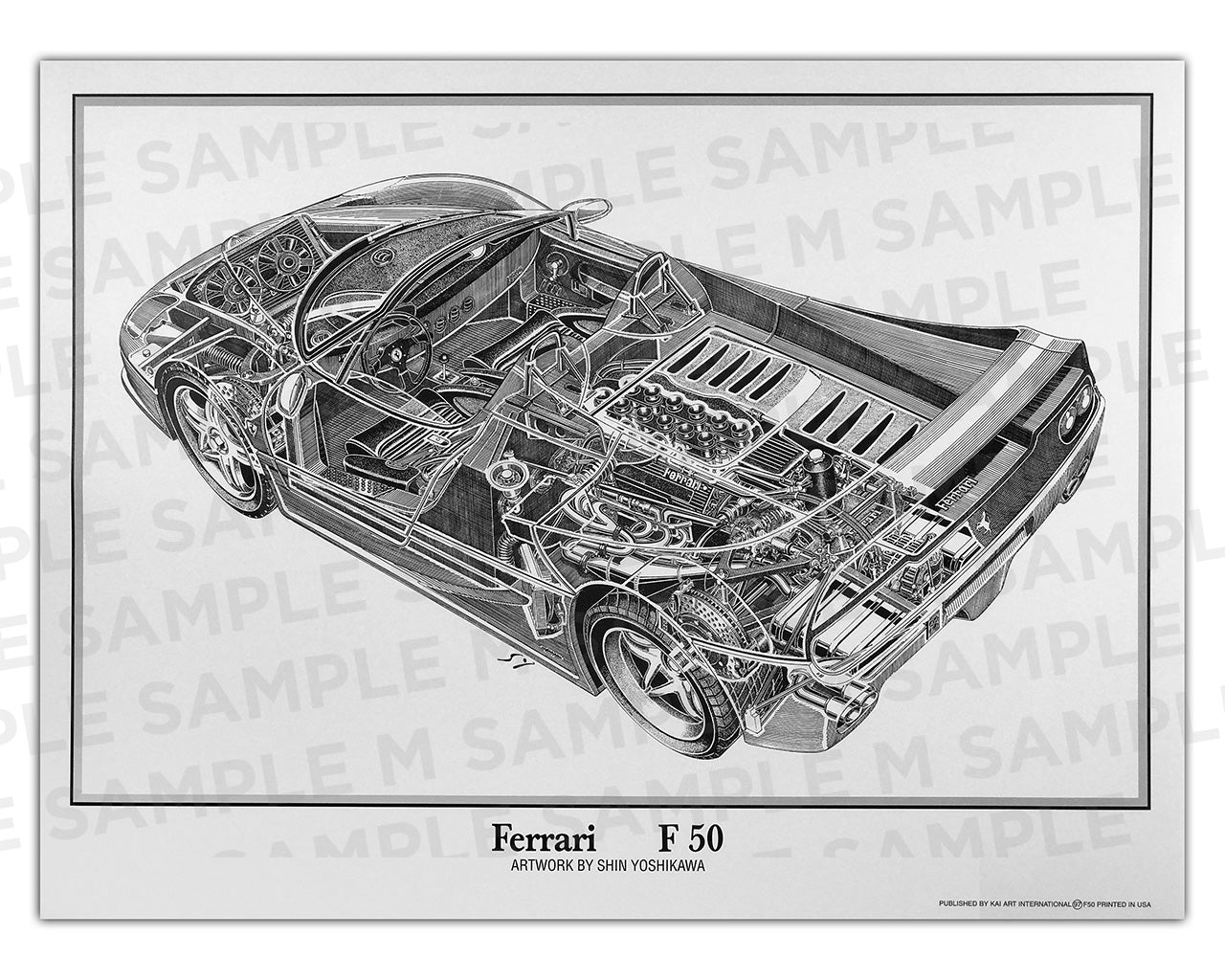 Authentic Ferrari F50 cutaway drawing print by renowned automotive artist Shin Yoshikawa
