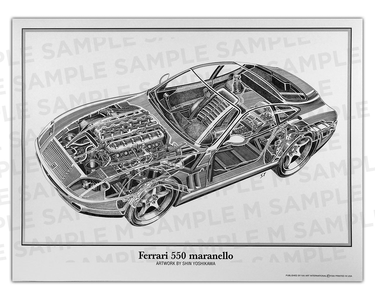 Authentic Ferrari 550 Maranello cutaway drawing print by renowned automotive artist Shin Yoshikawa
