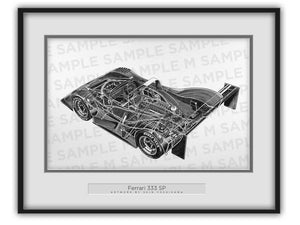 Ferrari 333 SP Cutaway Drawing
