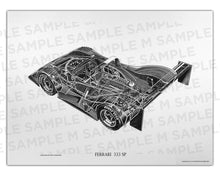 Authentic Ferrari 333 SP cutaway drawing print by renowned automotive artist Shin Yoshikawa