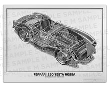 Authentic Ferrari 250 Testa Rossa cutaway drawing print by renowned automotive artist Shin Yoshikawa