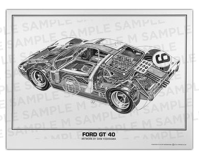 Authentic Ford GT40 cutaway drawing print by renowned automotive artist Shin Yoshikawa