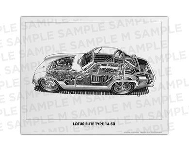 Authentic Lotus Elite Type14 S2 cutaway drawing print by renowned automotive artist Shin Yoshikawa