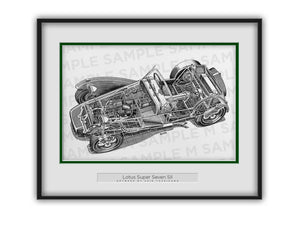Lotus Super Seven Cutaway Drawing