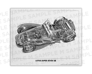 Authentic Lotus Super Seven cutaway drawing print by renowned automotive artist Shin Yoshikawa