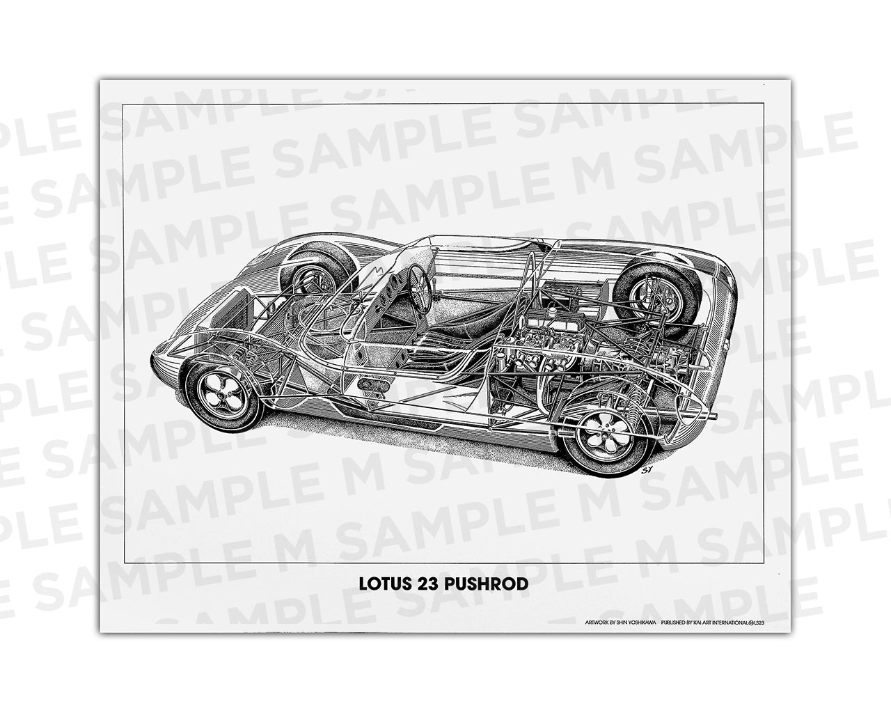 Authentic Lotus 23 Pushrod cutaway drawing print by renowned automotive artist Shin Yoshikawa