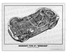 "Authentic Maserati Type 61 ""Birdcage"" cutaway drawing print by renowned automotive artist Shin Yoshikawa"
