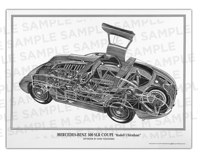 Authentic Mercedes-Benz 300 SLR cutaway drawing print by renowned automotive artist Shin Yoshikawa