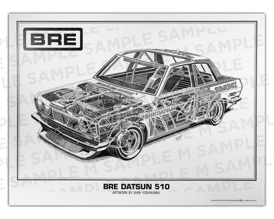 Authentic Nissan (Datsun) BRE 510 cutaway drawing print by renowned automotive artist Shin Yoshikawa