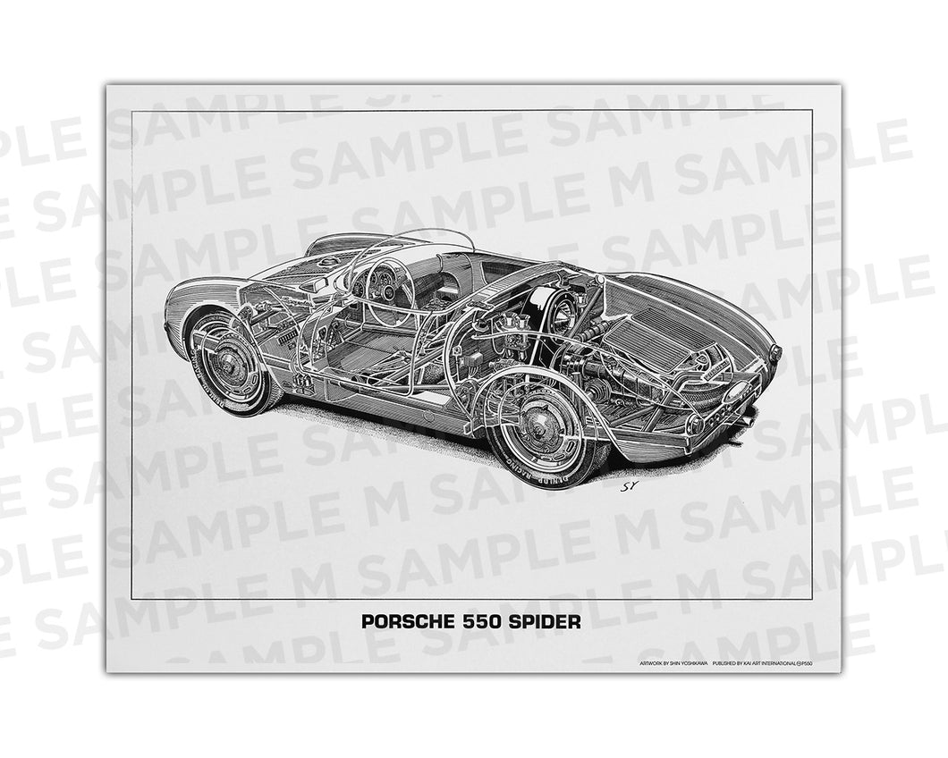 Authentic Porsche 550 Spyder cutaway drawing print by renowned automotive artist Shin Yoshikawa