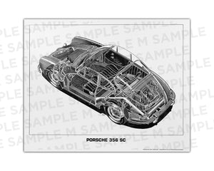 Authentic Porsche 356 SC cutaway drawing print by renowned automotive artist Shin Yoshikawa