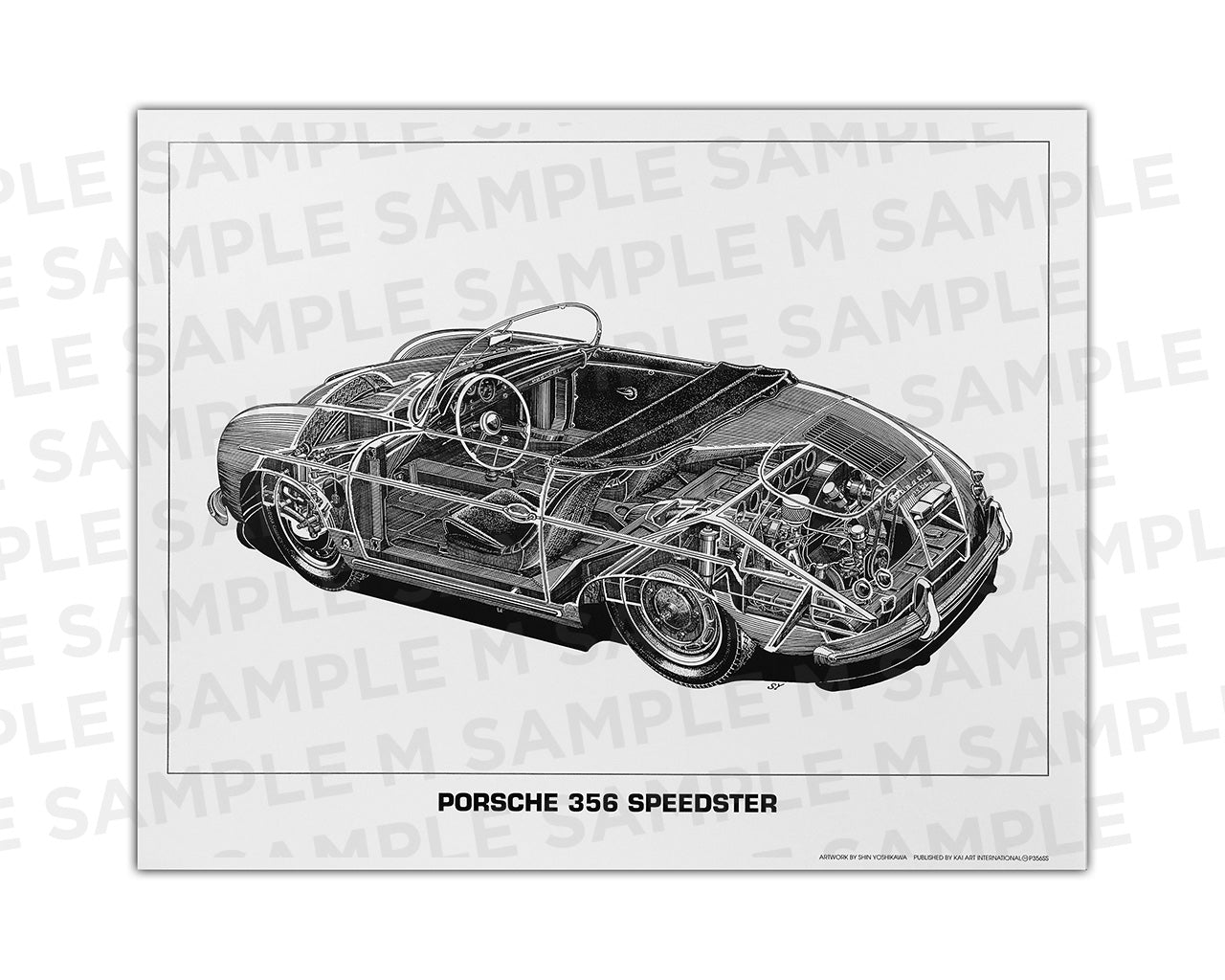 Authentic Porsche 356 Speedster cutaway drawing print by renowned automotive artist Shin Yoshikawa