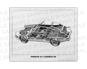 Authentic Porsche 911 Carrera RS cutaway drawing print by renowned automotive artist Shin Yoshikawa