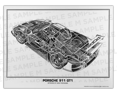 Authentic Porsche 911 GT1 cutaway drawing print by renowned automotive artist Shin Yoshikawa