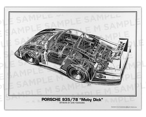 "Authentic Porsche 935/78 ""Moby Dick"" cutaway drawing print by renowned automotive artist Shin Yoshikawa"