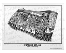 Authentic Porsche 917/30 cutaway drawing print by renowned automotive artist Shin Yoshikawa