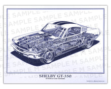 Authentic Shelby 350GT cutaway drawing print by renowned automotive artist Shin Yoshikawa