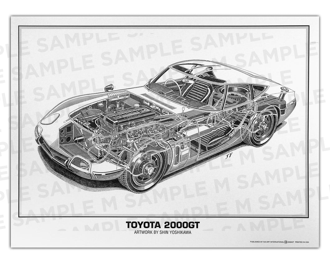 Authentic Toyota 2000GT cutaway drawing print by renowned automotive artist Shin Yoshikawa