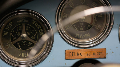 Relax- but hurry. Vintage Alfa Romeo Dashboard Shop art Poster