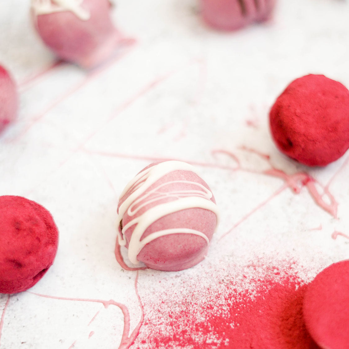 Clean Cherry Almond Truffles with Beet Powder