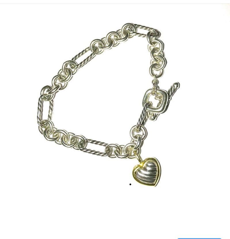 David Yurman Sterling Silver  and 18Karat Gold Bracelet