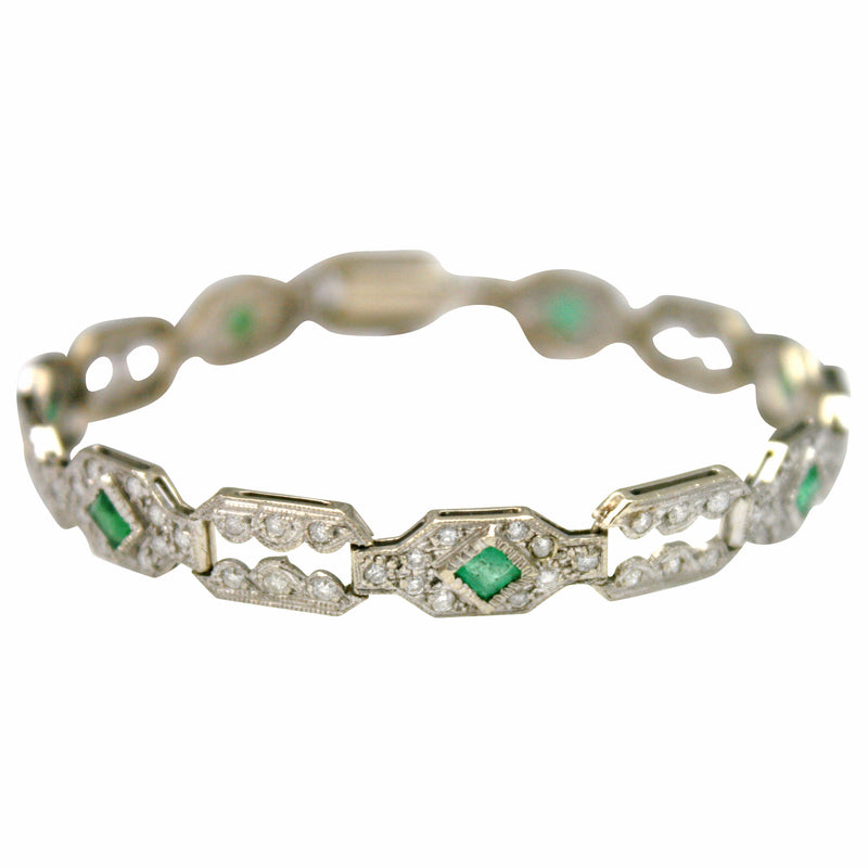 Art Deco Diamond Emerald 14K Gold Bracelet