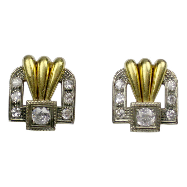 18K Yellow Gold Art Nouveau Earrings Set With Diamonds