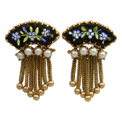 Handmade Mosaic Enamel Set With 14K Gold Fringe Hanging from Genuine Seed Pearls Circa 1940s