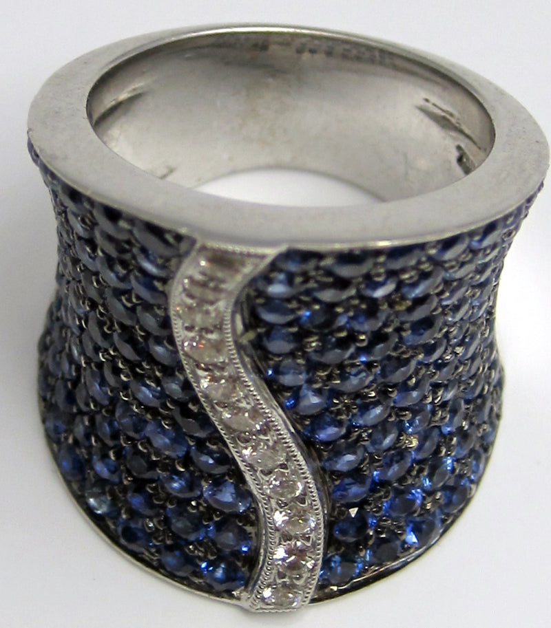 Blue Sapphire with Diamonds Cocktail Ring