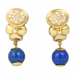 18K Yellow Gold With Diamonds and Lapis Balls Hanging Earrings Circa 1960s