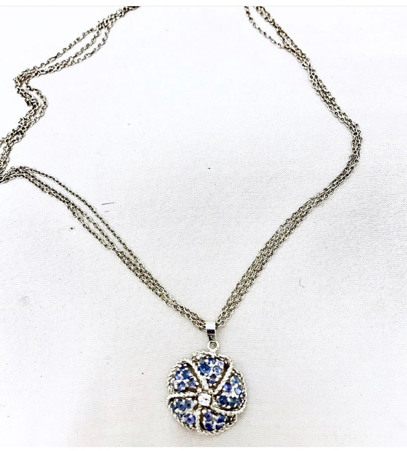 Sterling Silver Chain Necklace with Sapphires and Diamonds Pendant