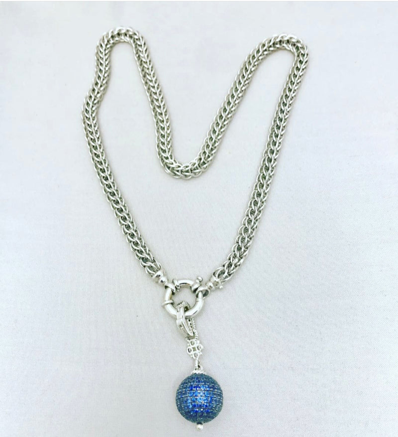 Sterling Silver with Sapphires Ball Pendant Necklace