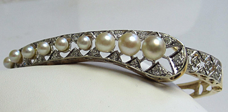 Estate Pearl / Diamond Bangle Bracelet