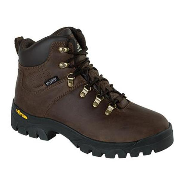 Brown leather hiking boot with Vibram sole
