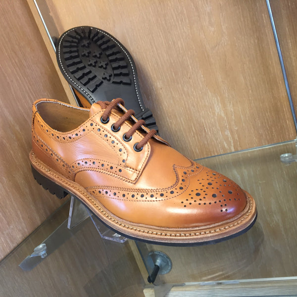 Tan brogue shoe with goodyear welted rubber commando sole