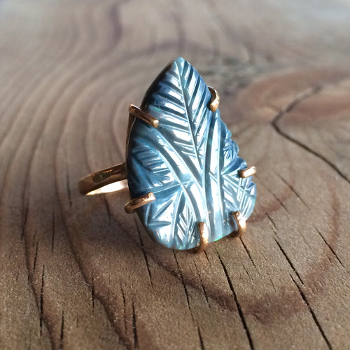 carved boulder opal ring