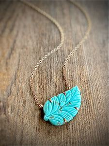 carved turquoise leaf pendant