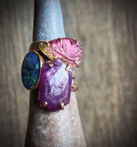 carved tourmaline ring