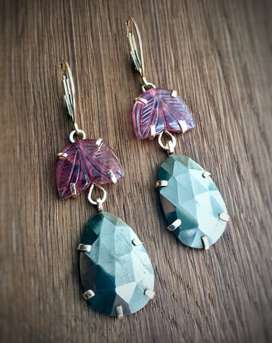carved tourmaline and pyrite earrings