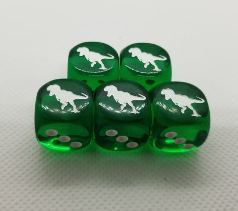 CDG - 16mm Green Rex Dino Dice (5)