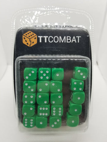 12mm Opaque Green Dice (20)