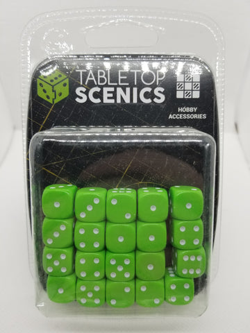 12mm Opaque Lime Green Dice (20)