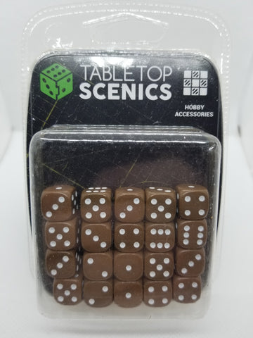 12mm Opaque Brown Dice (20)