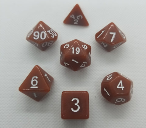 CDG Brown & White RPG Dice Set (7)