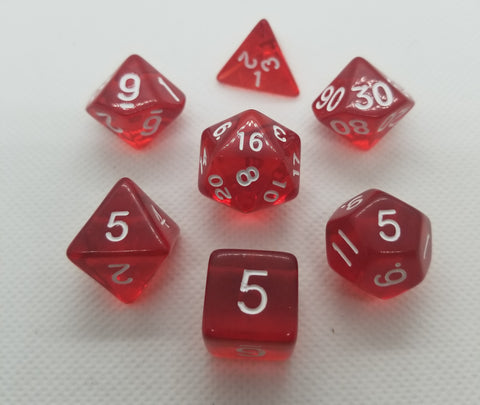 CDG Translucent Red & White RPG Dice Set (7)
